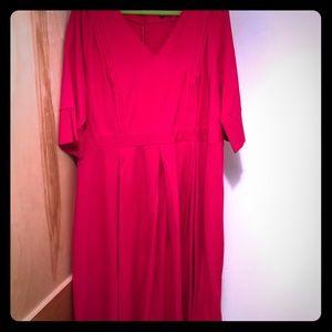 NWT Eloquii hot pink midi dress w/ pleat details